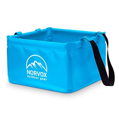 NORVOX Cuenco plegable para exteriores, cubo plegable para camping, 15 o 20 litros, universal, como recipiente para lavado, lavaplatos, cubo plegable o cubo de agua (azul océano – 15 L)