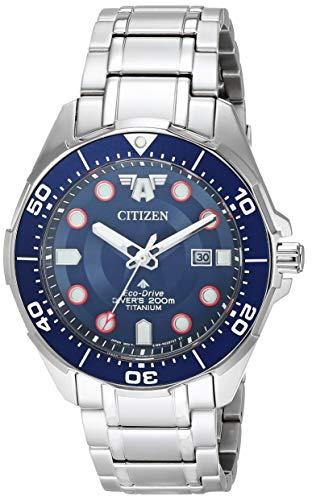 Citizen Reloj Eco-Drive de cuarzo para hombre con correa de titanio, plateado, 22 (Modelo: BN0208-54W)