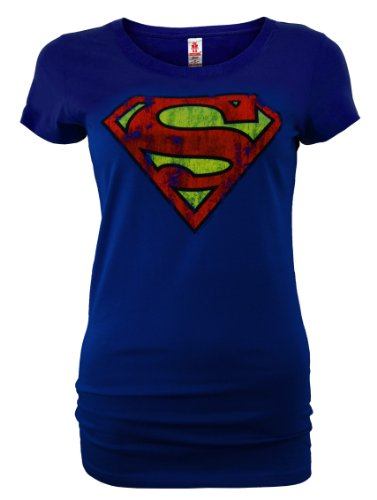 LOGOSHIRT DC Comic Retro Supergirl Dames Shirt SUPERMAN LOGO Blauw Gr. XS New Girl