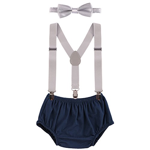 OBEEII Baby 1. / 2. Geburtstag Outfit Neugeborenen Kinder Bloomer Shorts + Fliege + Clip-on Hosenträger 3pcs Bekleidungssets für Foto-Shooting Kostüm Dunkelblau & Grau