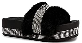 Juicy Couture Womens Orbit Womens Slide Sandals Beach Sandals for women Flip Flops Sandals Pool Slides Shoes Size 10 Black Fur