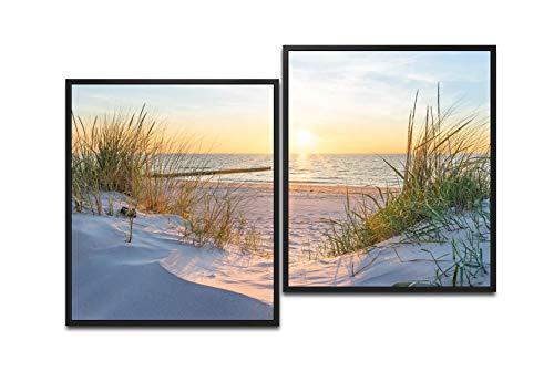 Paul Sinus Art Bain de soleil sur la mer Baltique 130 x 90 cm (2 photos env. 75 x 65 cm) Impression sur toile prête à être encadrée dans un cadre noir