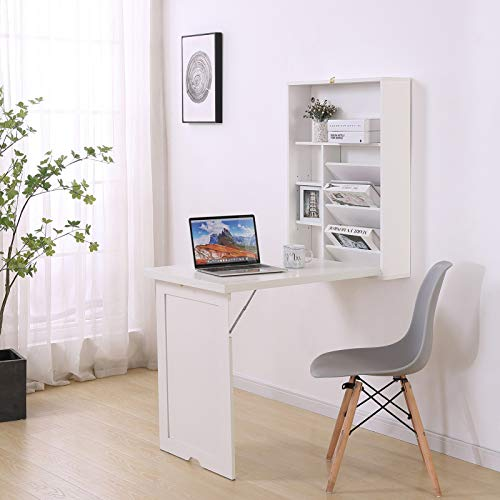 Lipo Desk with Bookshelf with 4 Tier Shelves - Writing Floating Wall Mounted Table with Foldable Bookshelves, Modern Wood Frame White