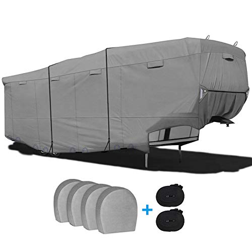 RVMasking Heavy Duty 6 Layers Top 5th Wheel RV Cover for 34'1' - 37' RV Camper Trailer with 4 Tire Covers, 2 Windproof Straps