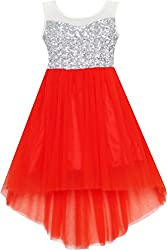 Red With Sequin & Mesh Princess Tulle Dress