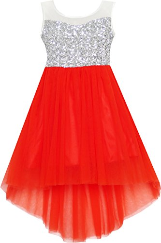 HK31 Girls Dress Sequin Mesh Party Wedding Princess Tulle Red Size 7