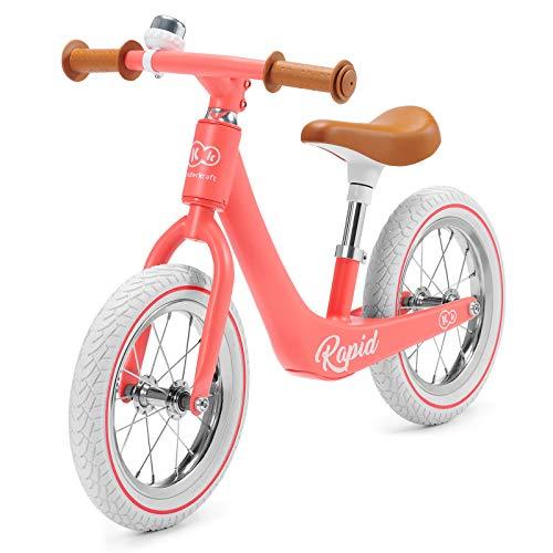 Kinderkraft Laufrad RAPID, Lernlaufrad, Kinderlaufrad, Lauflernrad für Kinder, Kinderrad, Fahrrad mit Zubehör, Klingel,12 Zoll Räder, Magnesiumrahme, ab 3 Jahre, Retro Design, Rosa