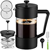 Veken French Press Coffee & Tea Maker 34oz, Thickened Borosilicate Glass Coffee Press with 3 Filter...