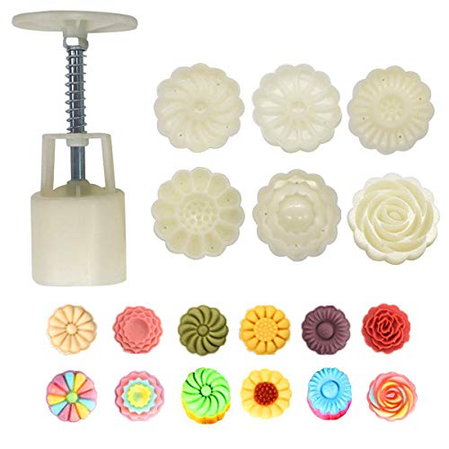 Dealglad Mooncake Mold 50g with 6 Stamps, Mid Autumn Festival DIY Hand Press Cookie Stamps, Flower Cookie Press Moon Cake Maker Mold