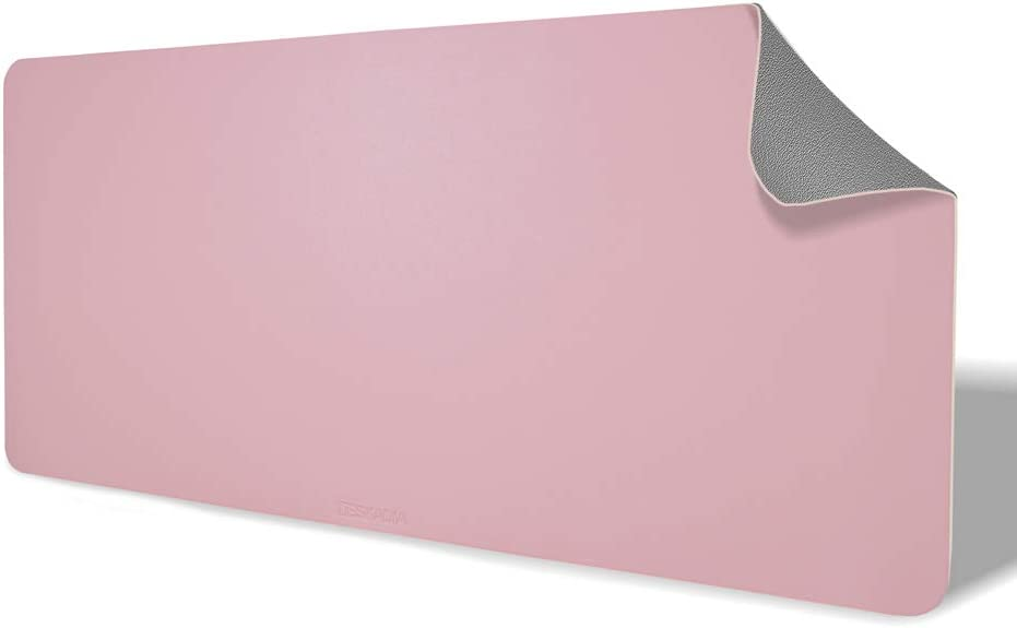 Deskadia Double Sided Two Tone Vegan Leather Desk Mat Protector Pad, Waterproof Writing Mouse Pad Table Blotter Cover for Home Office Study Gaming Kids Decor(Gray/Pink,36 x17x0.08in)