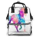 Lucaeat - Mochila para pañales, diseño de caballo de formas geométricas, gran capacidad, impermeable y elegante