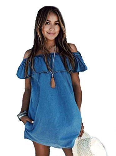 Vestido Vaquero Mujer Elegantes Vestido Verano Barco Cuello Sin Tirantes Niñas Ropa Mini Vestido Niña Moda Joven Anchos Streetwear Swag Cortos Vestido De Verano Azul (Color : Azul, Size : L)