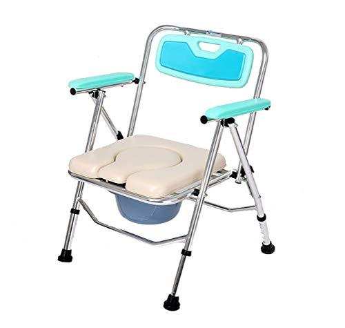 YUQIYU Silla con orinal móvil plegable del asiento de tocador for Viejo mujeres embarazadas silla de baño Cuarto de baño for ir al baño de asiento resistente a prueba de agua