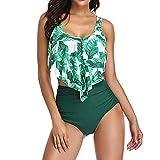 XUEJIN Women Two Piece Swimsuits Sexy Control Bathing Suits Ruffled Top Swimwear High Waisted Bottom Bikini Tankini Set