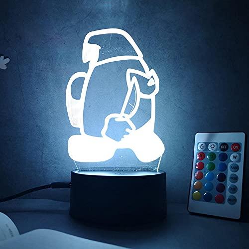 3D Anime Lámpara 3D Luz nocturna Entre nosotros Colorido Toque Acrílico Regalo Luces Navidad Halloween Vacaciones Cumpleaños-Cracked Base Remote_Among US 2
