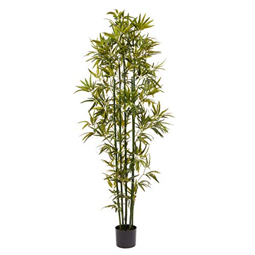 Home Pure Garden 6 Ft. Artificial Bamboo – Tall Faux Potted Indoor Floor Plant for Restaurant or Office Decor – Large and Lifelike (Green Trunk)