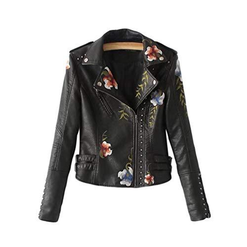 Sentaoa Kunstlederjacke Damen Blumen Bestickt Jacke mit Reißverschluss Motorradjacke Bikerjacke Übergangsjacke Oberbekleidung (Schwarz, Asia S)