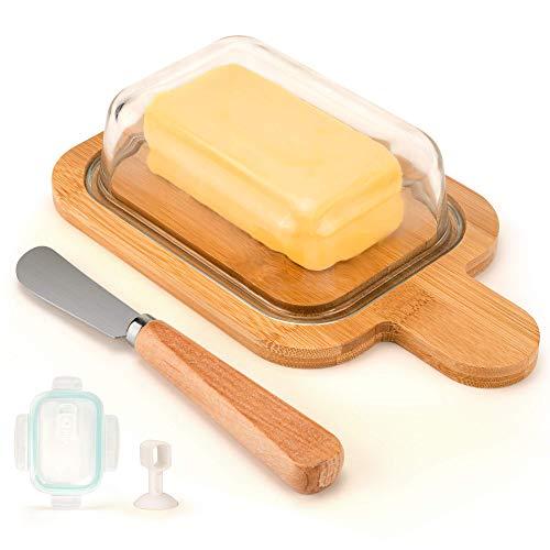 FAMEMII Butterdose Glas Mit Deckel,Butter Dish für 200g,Professionelle für Lagerung und Konservierung von Butter,verwendet in Küchen,Kühlschränke,um frisch zu halten,Butterdose Glas mit Gratis Messer.