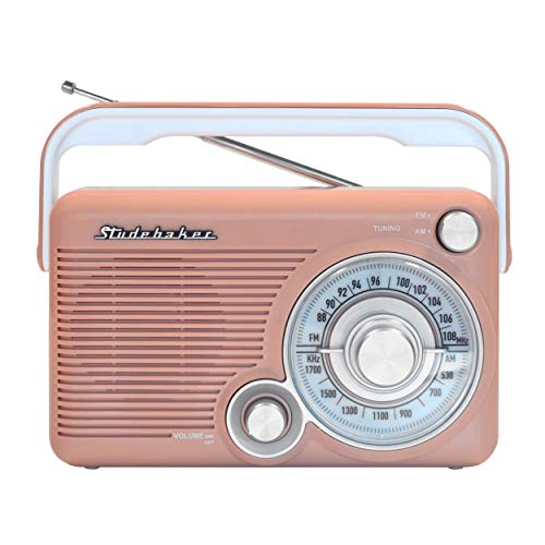 Studebaker SB2002RG Portable AM/FM Radio with Headphone Jack and aux-in Jack for Listening to Other Audio Sources (Rose Gold/White)