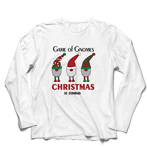 lepni.me Herren T Shirts Gnomenspiel Weihnachten kommt süßer nordischer Gnom (Small Weiß Mehrfarben)