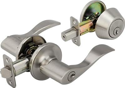 Legend 809126 Wave Style Lever Front Door Knob Entry Leverset Lockset and Single Cylinder Deadbolt Combination Set, US3 Polished Brass Finish