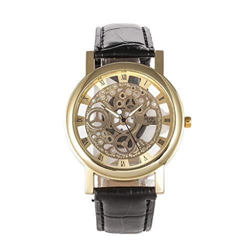 JZDH Relojes para Mujer Ver Creative Hollow Dial Estudiante Cinturón de Cuero Relojes Hombres y Mujeres Reloj de Pulsera de Cuarzo Relojes Decorativos Casuales para Niñas Damas (Color : H)