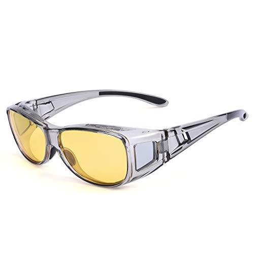 TINHAO 夜間サングラス メンズ 夜間用オーバーサングラス メガネの上から 夜間運転用 オーバーグラス イエローレンズ UV400 夜間ドライブ用偏光サングラス 夜釣り 夜間ランニング  (透明灰)