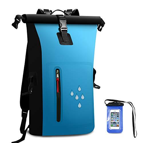 SCHITEC Wasserdichter Dry Bags Rucksack, 25L Heavy Duty Roll-Top-Verschluss Reiserucksack mit IPX8 Waterproof Handy-Hülle für Bootfahren, Strand, Kajak, Skifahren, Angeln, Camping, Schwimmen (Blau)
