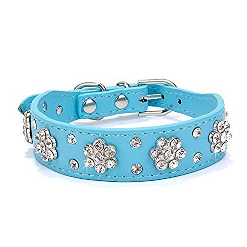 haoyueer Collar de perro con diamantes de imitación, collar de perro con diamantes de imitación de flor, collar de piel sintética ajustable, tamaño pequeño, mediano y grande (L, azul)