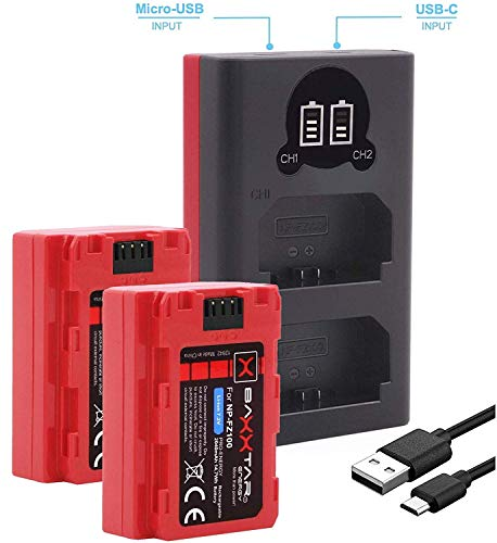 Baxxtar Pro (2X) Ersatz für Akku Sony NP-FZ100 (Generation III) auch für Alpha 6600 - Alpha 7R IV - Alpha 9 II - Ladegerät Mini 18582 LCD DUAL (Eingang USB-C/MicroUSB)