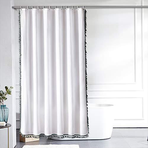 Furlinic Duschvorhang Überlänge für Badewanne & Bad Weiß Badvorhang mit Dunkelgrauen Quaster Wasserabweisend Waschbar Anti-shcimmel mit 12 Duschringen 180x210cm.