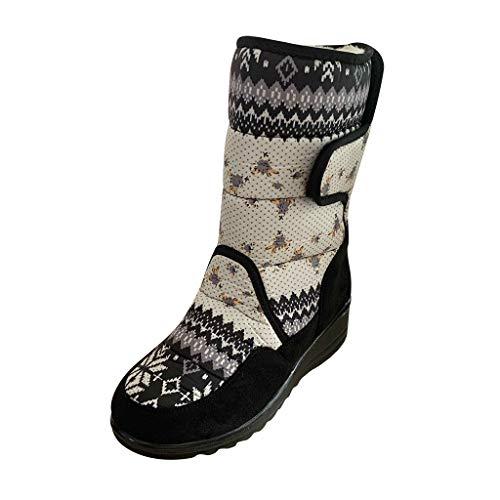 YWLINK Wasserdicht rutschfest rutschfest Schneestiefel FüR Damen, Faux WollplüSch Fleece Stiefel Outdoor Bequem Flache Schuhe Retro Booties(Weiß,35 EU)