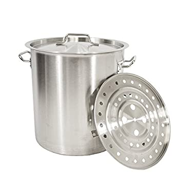 Gas One Stainless Steel Stock Pot with Steamer 6-Gallon with lid/cover & Steamer Rack, Tamale, Dumpling, Crawfish, Crab Pot/Steamer Thickness 1mm Perfect for Homebrewing & Boiling Sap for Maple Syrup