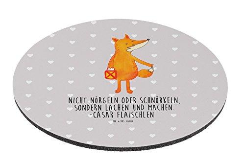 Mr. & Mrs. Panda Maus, Schreibtisch, Rund Mauspad Fuchs Laterne mit Spruch - Farbe Grau Pastell