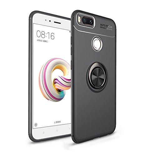iCoverCase Schutzhülle für Xiaomi Mi A1 (Xiaomi 5X Hülle), [unsichtbare Matal-Ring-Halterung] [magnetische Unterstützung] Stoßfest Anti-Scratch Ultradünne Schutzhülle mit Ständer (Gun Black)