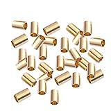 SUPVOX 100 Tubi in ottone macramè oro perline distanziatori per bricolage, cucito, artigianato e tappezzeria, diametro 0,3 mm, foro grande