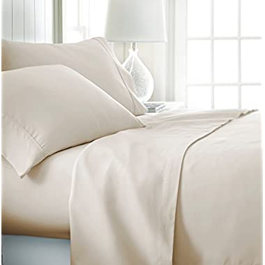 ienjoy Home Hotel Collection Luxury Soft Brushed Bed Sheet Set, Hypoallergenic, Deep Pocket, King, Cream
