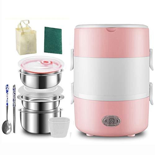 ZQJKL Fiambrera Eléctrica Portátil Calentador De Comida con 3 Contenedores Mini Olla Arrocera Calefacción Bento Box con Bolsa De Almacenamiento Taza Medidora y Cubiertos,Pink