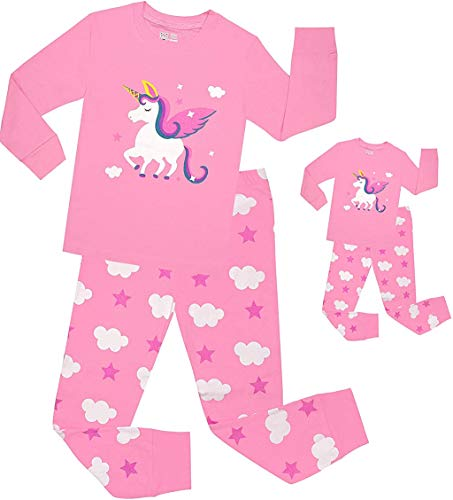 BebeBear Pajamas for Girls and Doll Matching Pyjamas Horse Baby Clothes Kid Children Cotton PJs Set 5t, Pajamas Matching Doll & Girls/Pink-horse