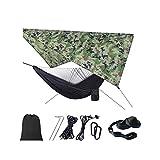 DIANPU Hamacas,Camping Hamaca Capacidad De Carga Ultra Ligera Nylón De Paracaída Portátil Y Transpirable (230 * 210cm+290 * 140cm,Camuflaje5)