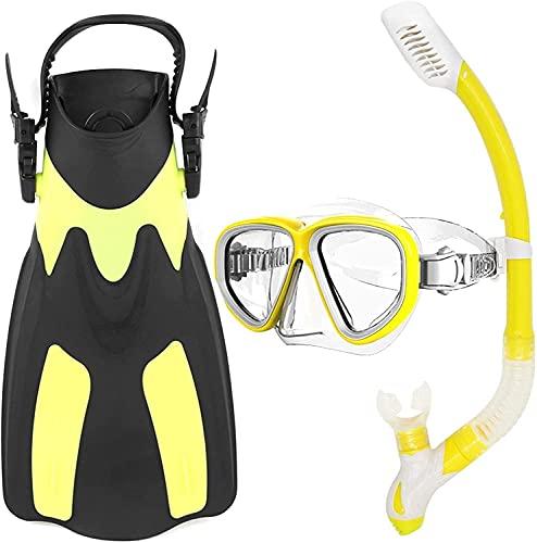 máscara de Buceo Máscaras de Buceo Aletas de Buceo Juego de Aletas de esnórquel Aletas de natación de Vidrio para esnórquel Paquete de Equipo de esnórquel para Adultos (Color: Amarillo)