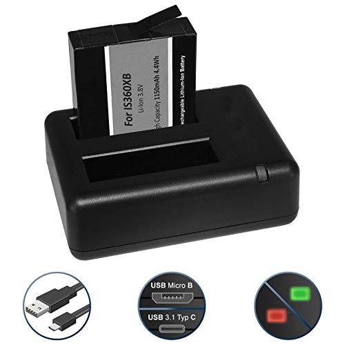 Batteria + Caricabatteria doppio (USB) per Insta360 One X 360 Action Cam - Cavo USB micro incluso - 2 batterie simultaneamente caricabili