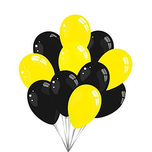 50 Premium Luftballons in Schwarz/Gelb - Made in EU - 100% Naturlatex somit 100% giftfrei und 100% biologisch abbaubar - Geburtstag Party Hochzeit Silvester Karneval - für Helium geeignet - twist4®