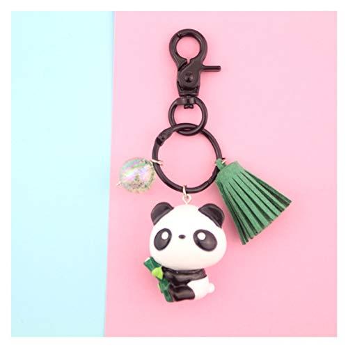 Xiniufsd Schlüsselbund Klassische Nette Panda-Puppe Panda-Auto Keychain Anhänger Cartoon-Reise-Andenken-Anhänger (Color : Hold Bamboo Panda)