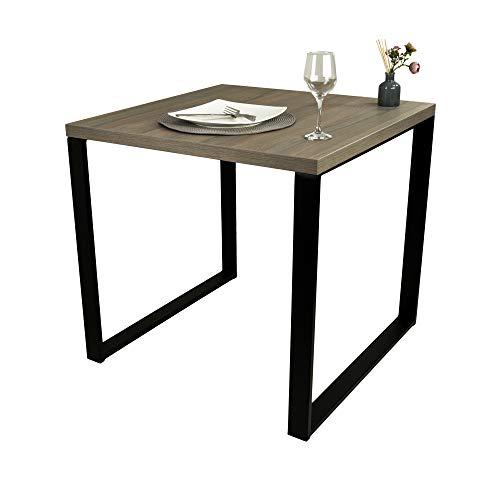 POKAR Mesa De Comedor Mesa De Cocina Mesa De Comedor Sólida con Patas De Metal Negro 80 x 80 cm, El Olmo Ahumado Liberty