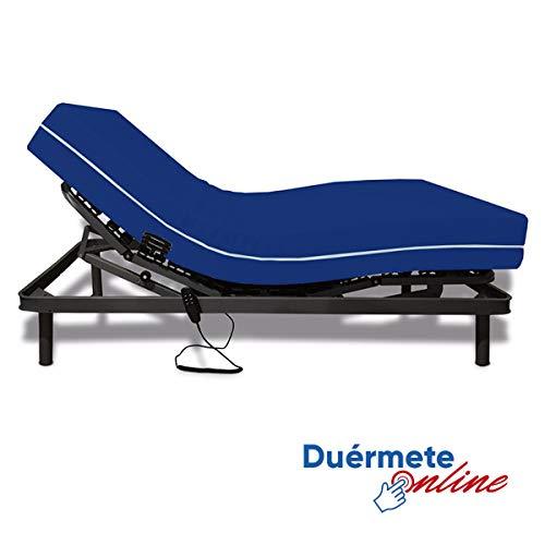 Duérmete Online Pack Ahorro Cama Articulada Eléctrica Reforzada 5 Planos + Colchón Sanitario Impermeable, Gris Antracita, 105x200