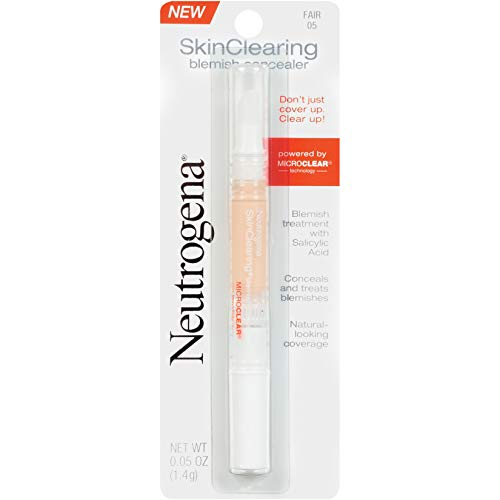 Neutrogena SkinClearing Blemish Concealer Face Makeup with Salicylic Acid Acne Medicine, Non-Comedogenic and Oil-Free Concealer Helps Cover, Treat & Prevent Breakouts, Fair 05,.05 oz