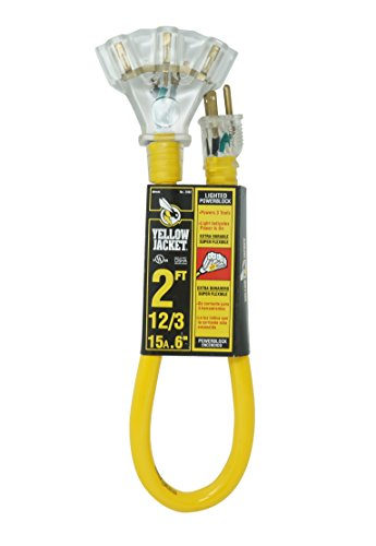 Yellow Jacket 2882 12/3 Heavy Duty 15-Amp, 125 Volts 1875 Watts, Premium SJTW Contractor Grade 3 Outlet Extension Cord with Lighted End, 2-Feet, Yellow, UL Listed, 2 Foot,