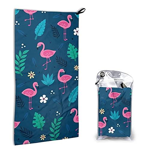 AOOEDM Toalla de microfibra de secado rápido, toalla de baño de playa súper absorbente y liviana para niños, adolescentes, adultos de 15.7 'x 31.5' ', dibujos animados de flamencos y hojas tropicales.