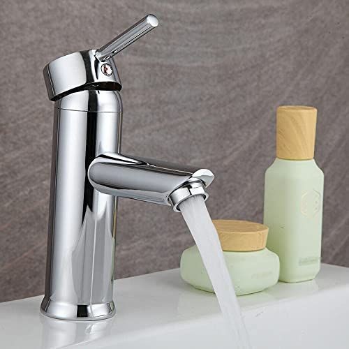 wsetrtg Grifo Mezclador Cromado para baño con un Solo Orificio con una Sola Palanca Agua fría y Caliente grifos de Lavabo de baño monobloque pulidos comerciales Modernos Resistentes al Polvo a